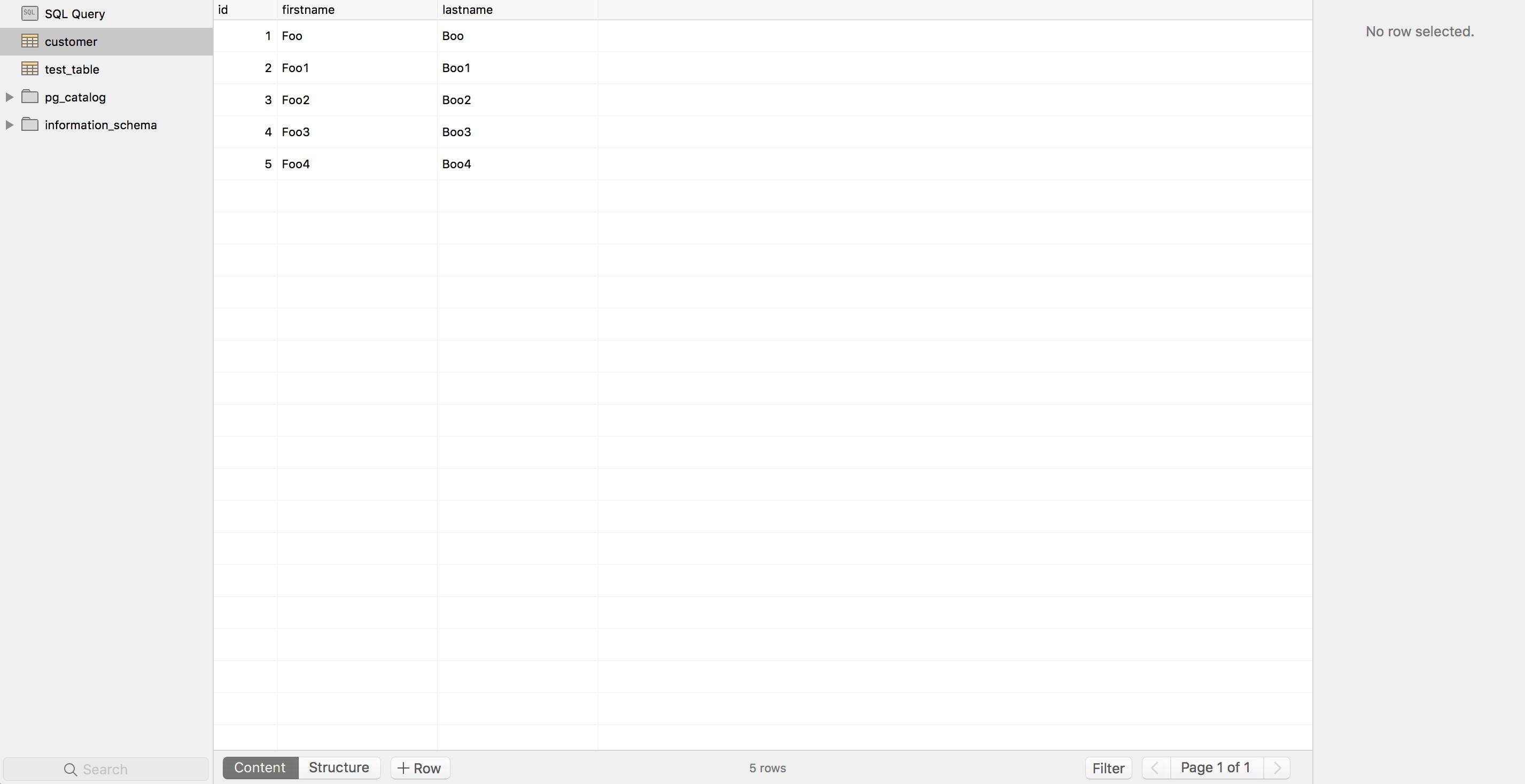 See the table records in postgresql database using postico